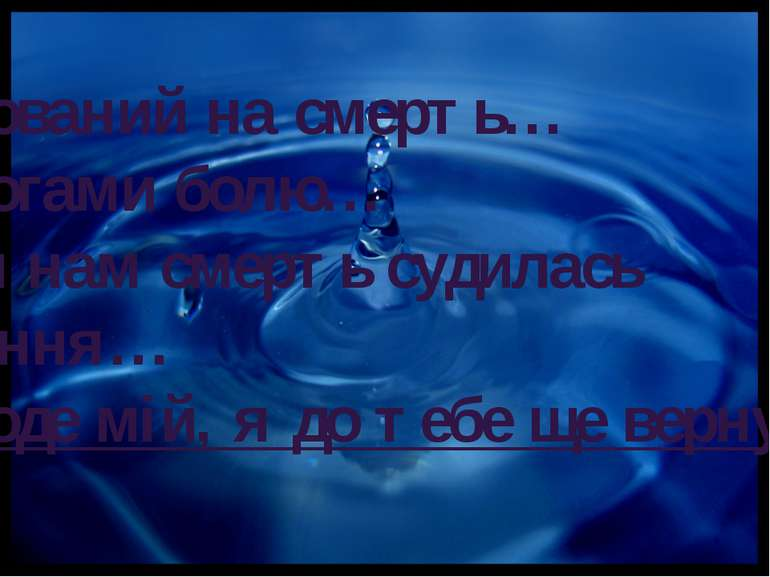 Рокований на смерть… Дорогами болю… Всім нам смерть судилась зарання… Народе ...