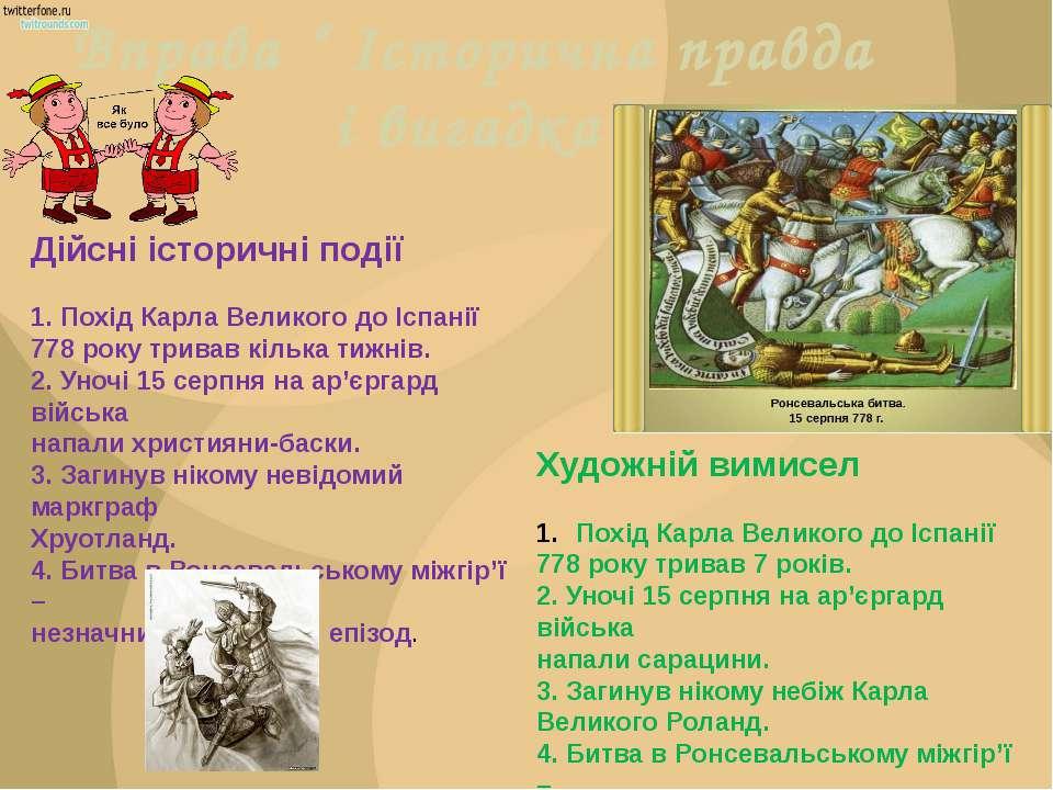 """Вправа """" Історична правда і вигадка"""" Дійсні історичні події 1. Похід Карла Ве..."""