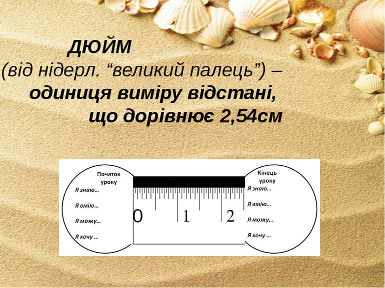 """ДЮЙМ (від нідерл. """"великий палець"""") – одиниця виміру відстані, що дорівнює 2,..."""
