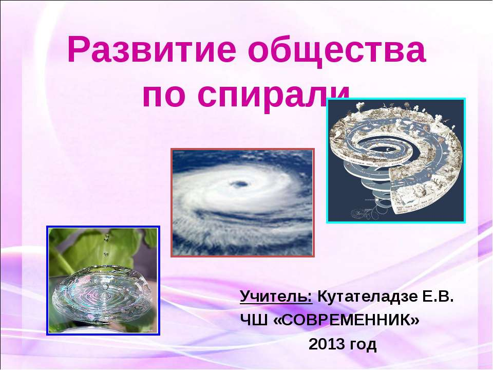Развитие общества по спирали Учитель: Кутателадзе Е.В. ЧШ «СОВРЕМЕННИК» 2013 год
