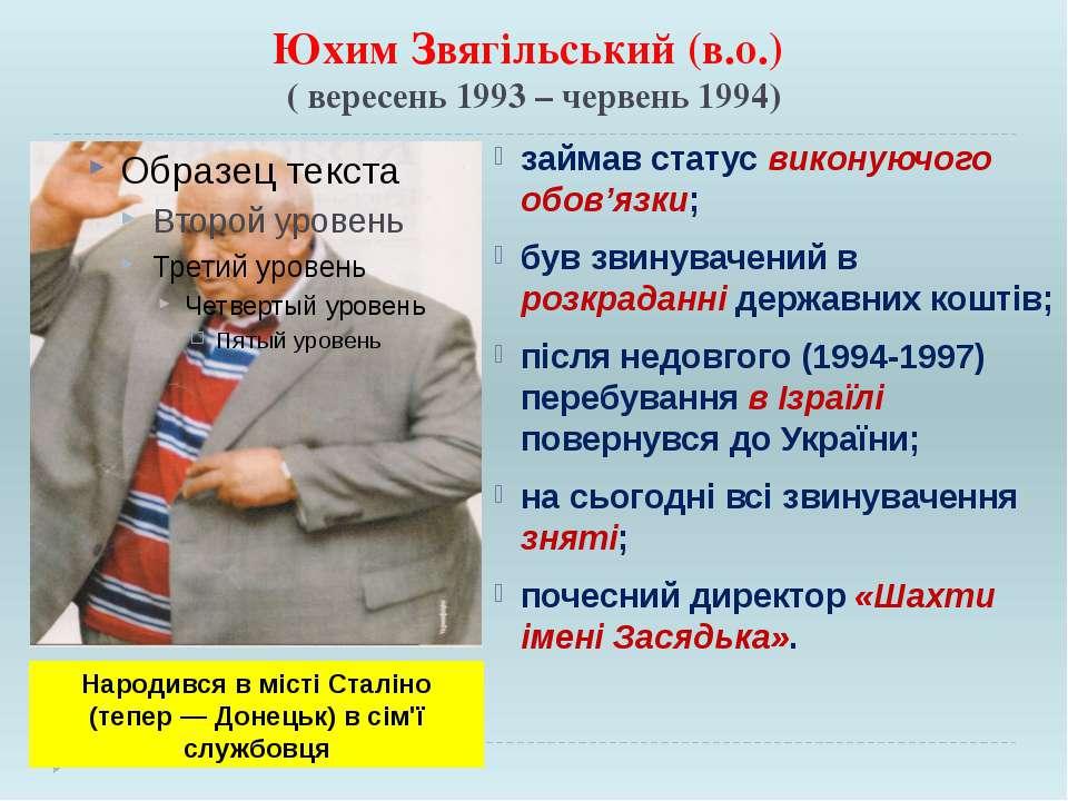 Юхим Звягільський (в.о.) ( вересень 1993 – червень 1994) займав статус викону...