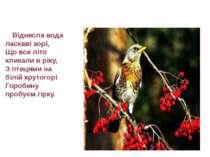 Віднесла вода ласкаві зорі, Що все літо кликали в ріку, З птицями на білій кр...