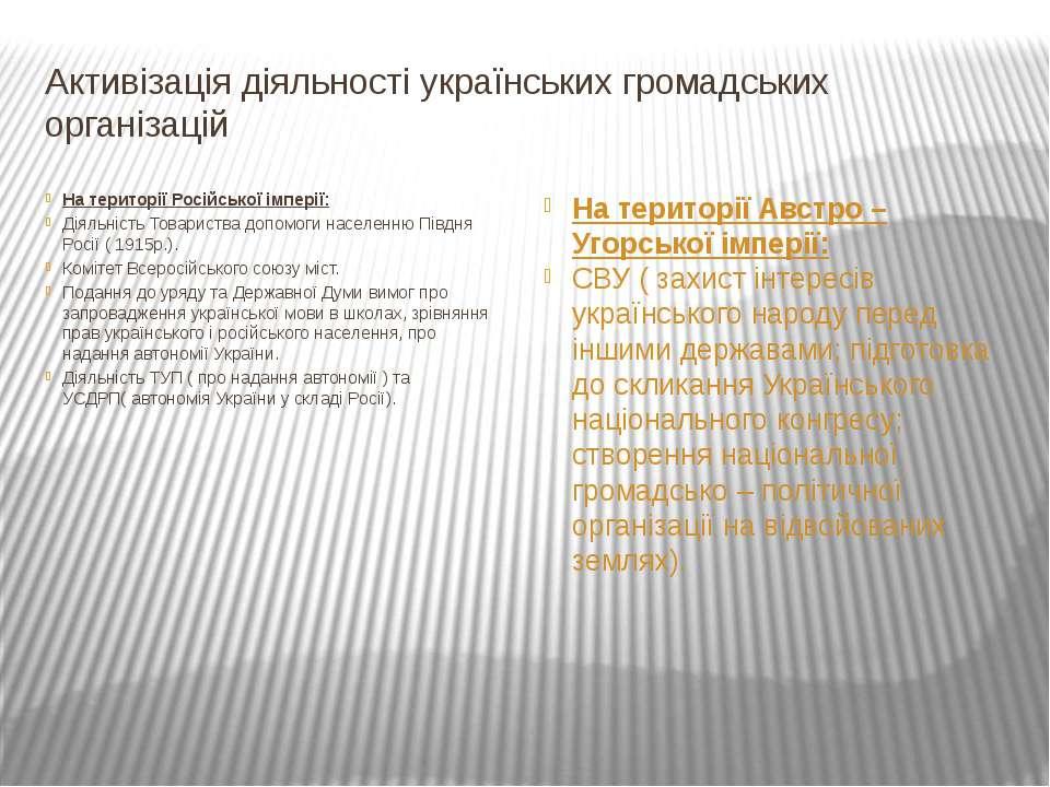 Активізація діяльності українських громадських організацій На території Росій...