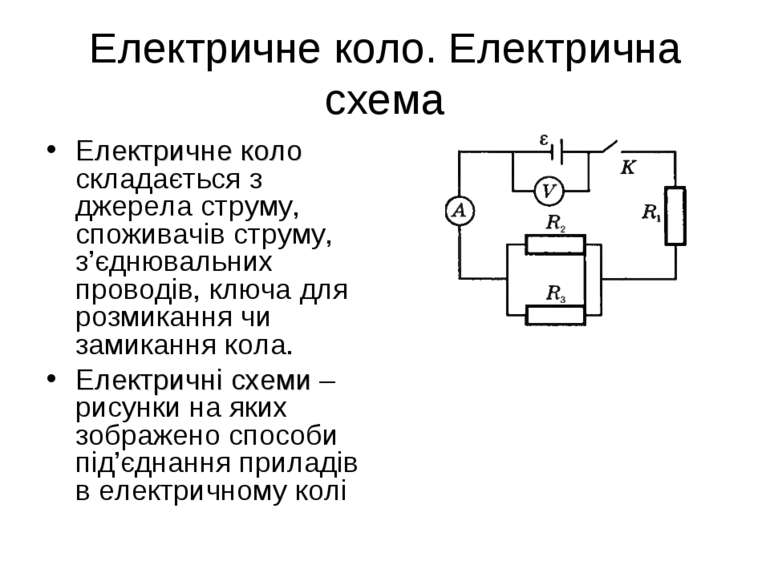 Електричне коло. Електрична схема Електричне коло складається з джерела струм...