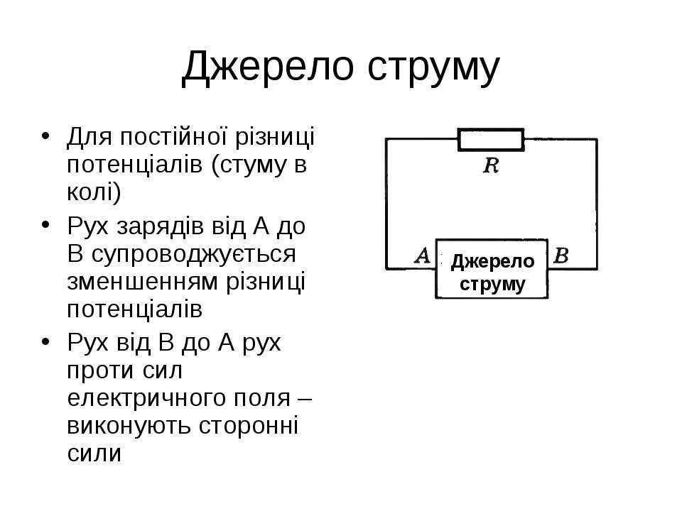 Джерело струму Для постійної різниці потенціалів (стуму в колі) Рух зарядів в...