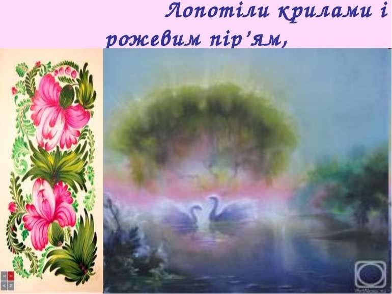 Лопотіли крилами і рожевим пір'ям,