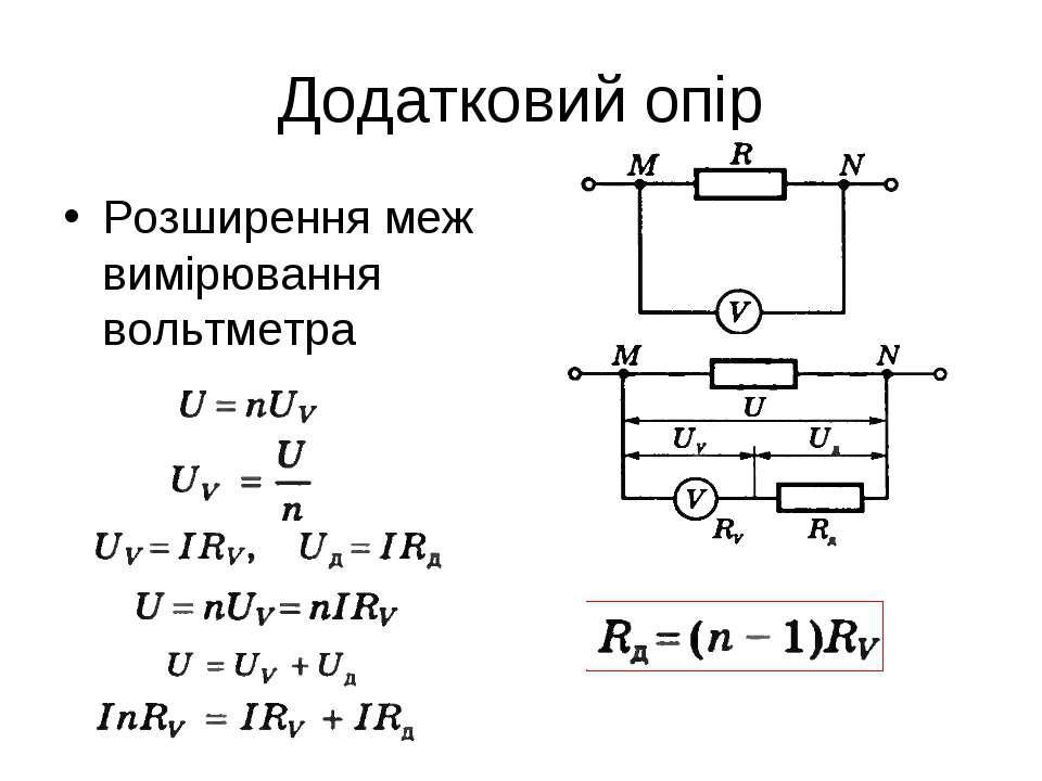 Додатковий опір Розширення меж вимірювання вольтметра
