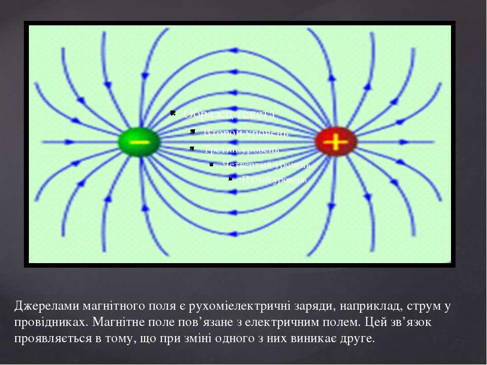 Джерелами магнітного поля є рухоміелектричні заряди, наприклад, струм у прові...