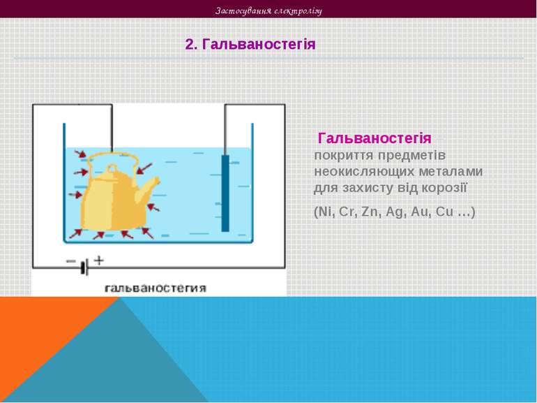 Застосування електролізу 2. Гальваностегія Гальваностегія – покриття предметі...