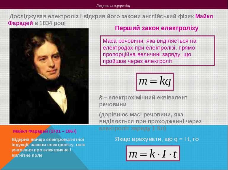 Закони електролізу Досліджував електроліз і відкрив його закони англійський ф...