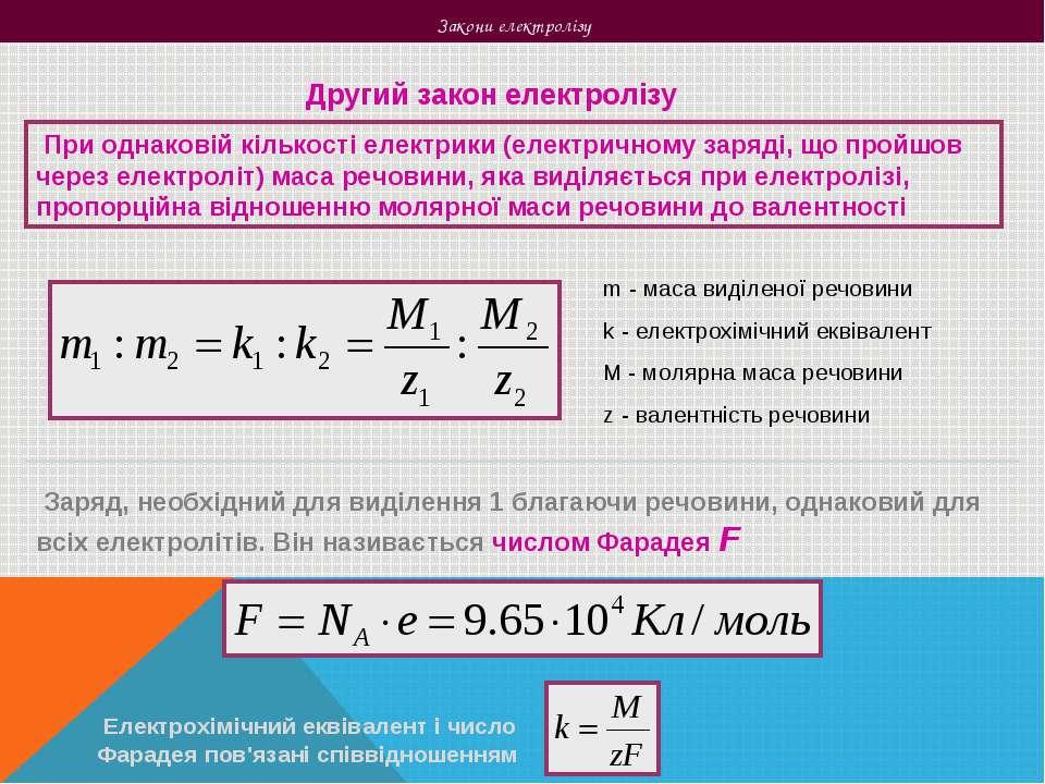 Закони електролізу Другий закон електролізу При однаковій кількості електрики...
