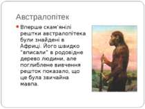 Австралопітек Вперше скам'янілі рештки австралопітека були знайдені в Африці....