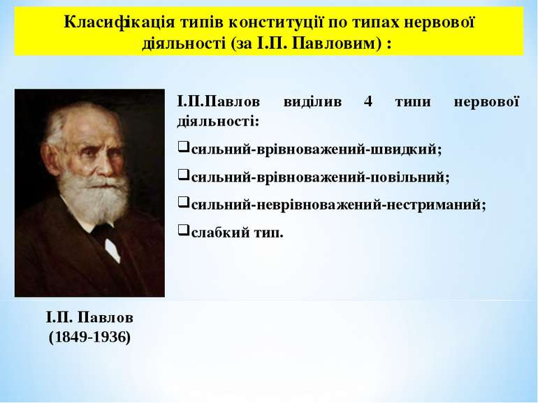Класифікація типів конституції по типах нервової діяльності (за І.П. Павловим...
