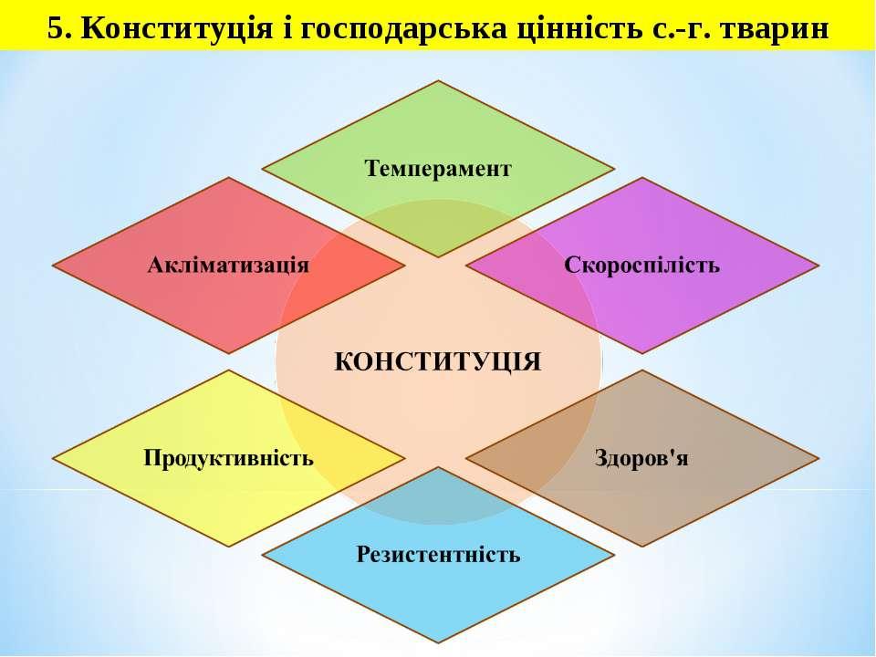 5. Конституція і господарська цінність с.-г. тварин