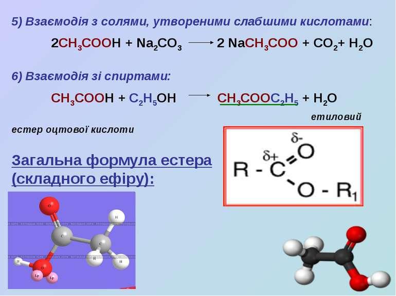 5) Взаємодія з солями, утвореними слабшими кислотами: 2СН3СООН + Na2CO3 2 NaC...