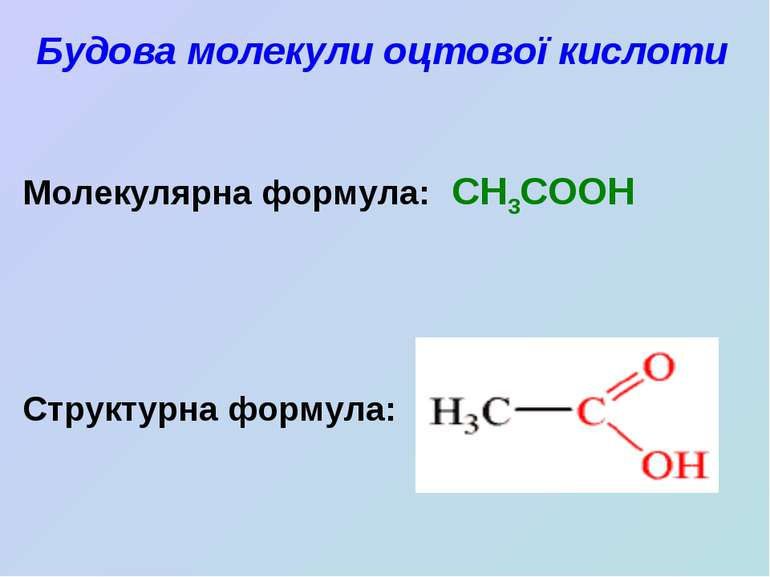 Будова молекули оцтової кислоти Молекулярна формула: CH3COOH Структурна формула: