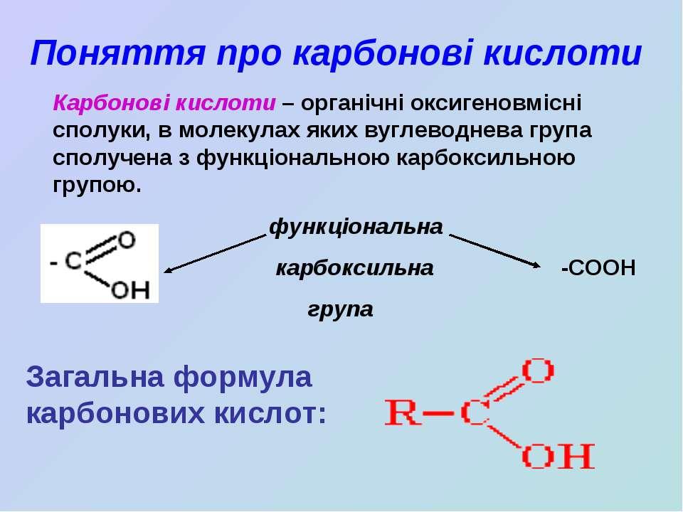 Поняття про карбонові кислоти Карбонові кислоти – органічні оксигеновмісні сп...