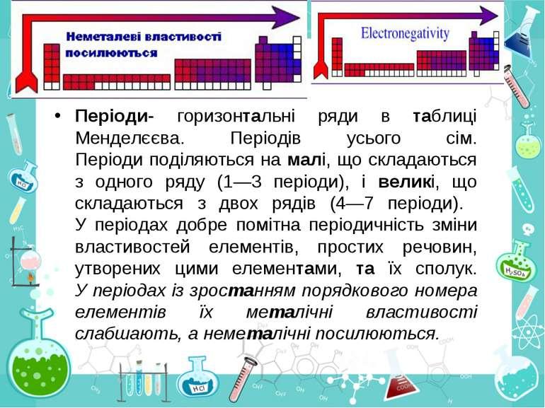 Періоди- горизонтальні ряди в таблиці Менделєєва. Періодів усього сім. Період...
