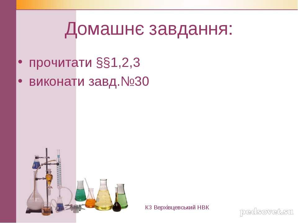 Домашнє завдання: прочитати §§1,2,3 виконати завд.№30 КЗ Верхівцевський НВК
