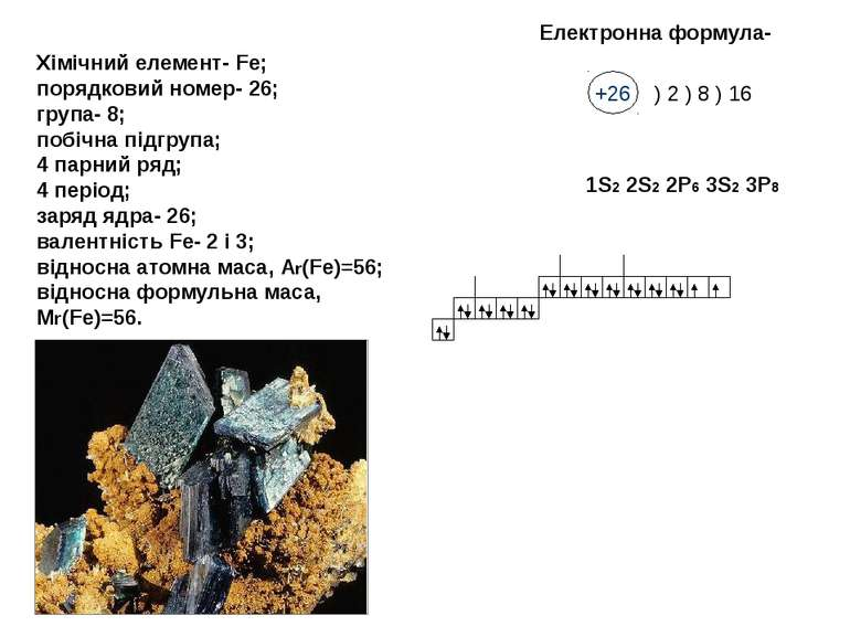 Хімічний елемент- Fe; порядковий номер- 26; група- 8; побічна підгрупа; 4 пар...
