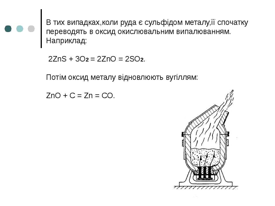 В тих випадках,коли руда є сульфідом металу,її спочатку переводять в оксид ок...