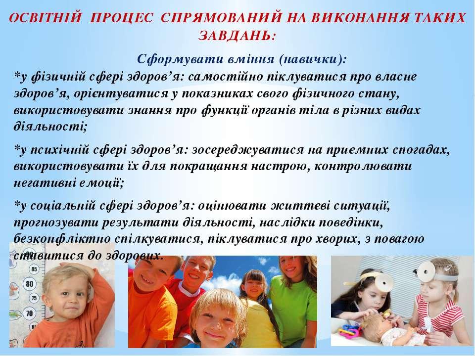 Сформувати вміння (навички): *у фізичній сфері здоров'я: самостійно піклувати...