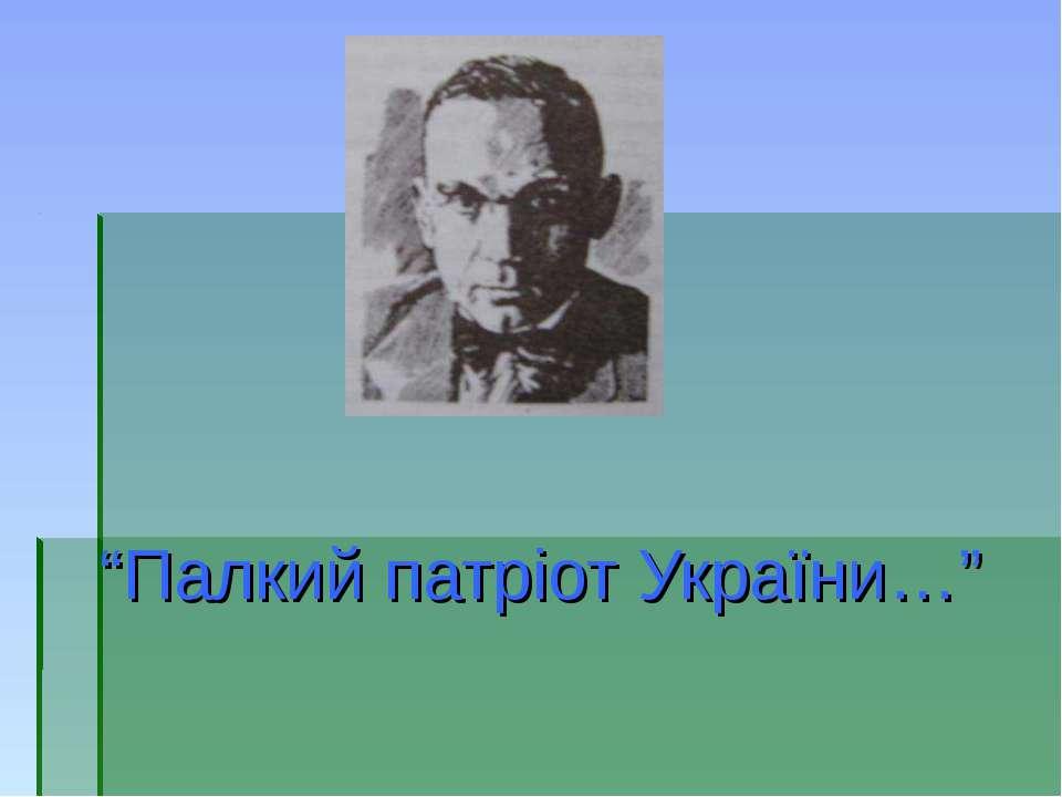 """Палкий патріот України…"""