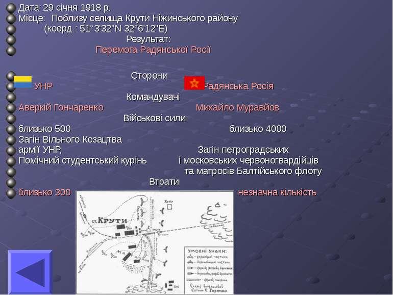 Дата: 29 січня 1918 р. Місце: Поблизу селища Крути Ніжинського району (коорд....