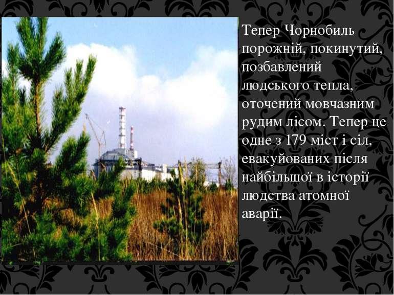 Тепер Чорнобиль порожній, покинутий, позбавлений людського тепла, оточений мо...