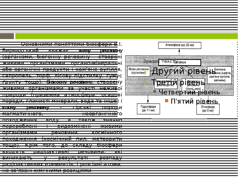Основними поняттями біосфери В.І. Вернадський вважає живу речовину (організми...
