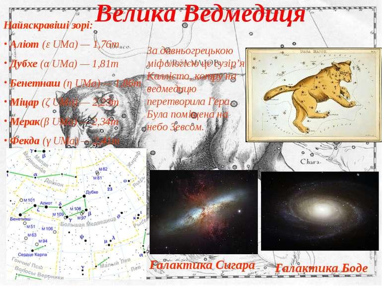 Велика Ведмедиця Найяскравіші зорі: Аліот (ε UMa) — 1,76m Дубхе (α UMa) — 1,8...
