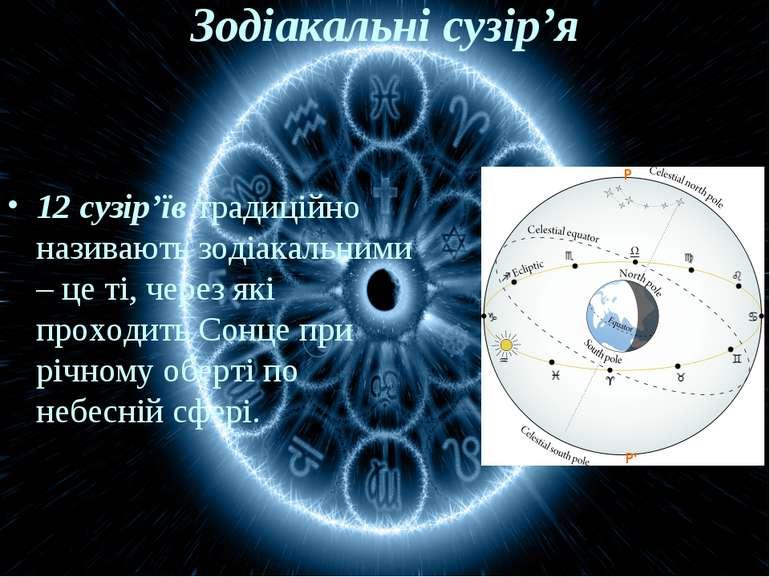 Зодіакальні сузір'я 12 сузір'їв традиційно називають зодіакальними – це ті, ч...
