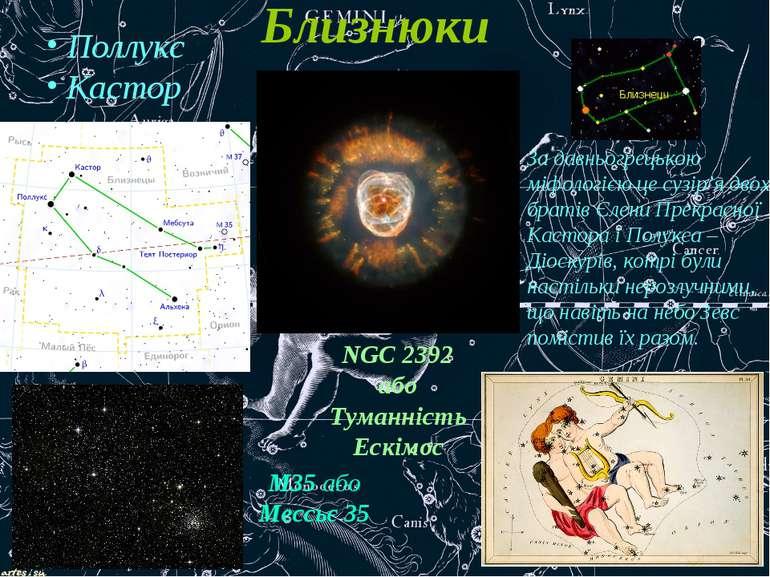 Близнюки Поллукс Кастор NGC 2392 або Туманність Ескімос М35 або Мессьє 35 За ...