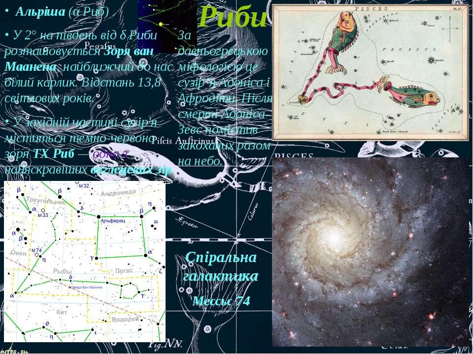 Риби Альріша (α Риб) У 2° на південь від δ Риби розташовується Зоря ван Маане...