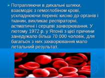 Потрапляючи в дихальні шляхи, взаємодіє з гемоглобіном крові, ускладнюючи пер...