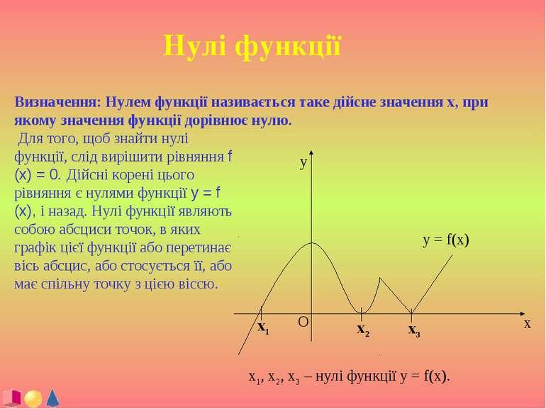 Нулі функції Визначення: Нулем функції називається таке дійсне значення x, пр...