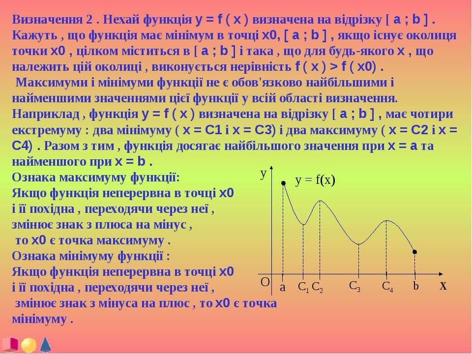 Визначення 2 . Нехай функція y = f ( x ) визначена на відрізку [ a ; b ] . Ка...