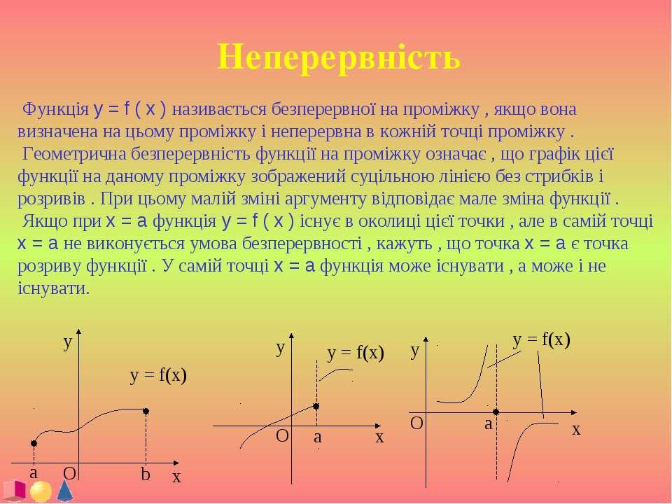 Неперервність Функція y = f ( x ) називається безперервної на проміжку , якщо...