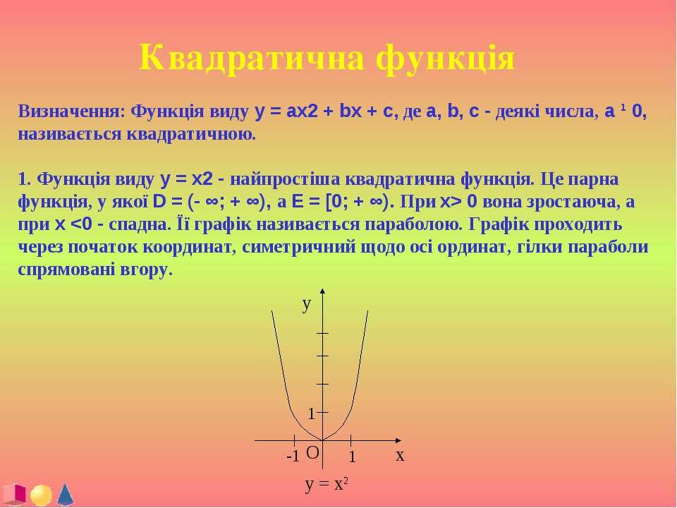 Квадратична функція Визначення: Функція виду y = ax2 + bx + c, де a, b, c - д...