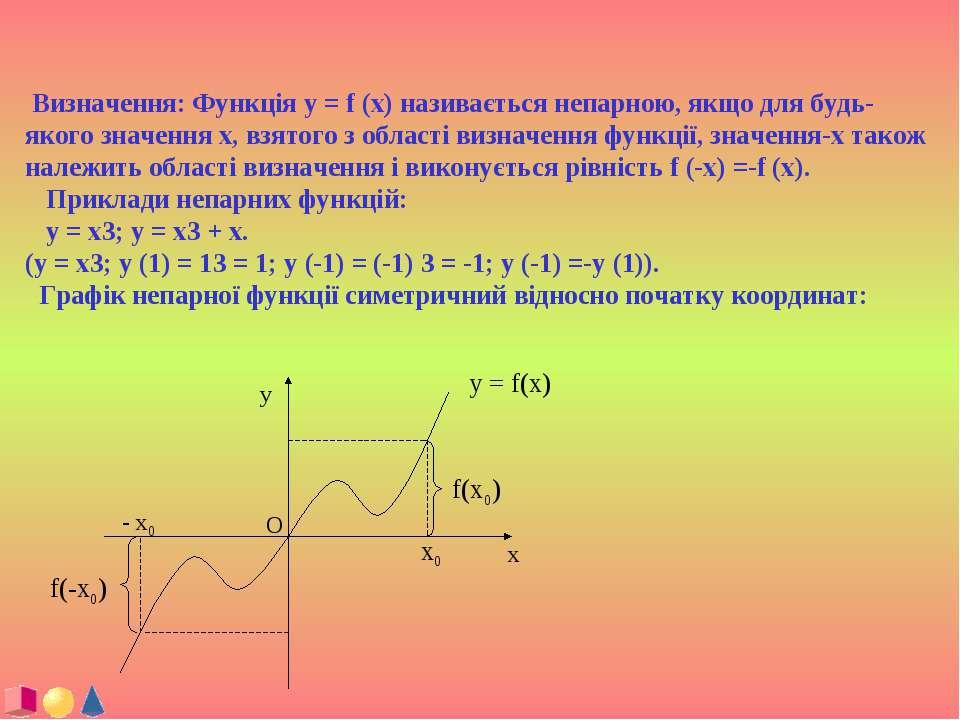 Визначення: Функція y = f (x) називається непарною, якщо для будь-якого значе...