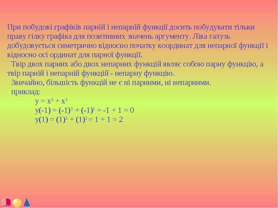 При побудові графіків парній і непарній функції досить побудувати тільки прав...