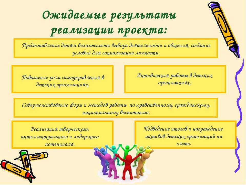 Ожидаемые результаты реализации проекта: Предоставление детям возможности выб...