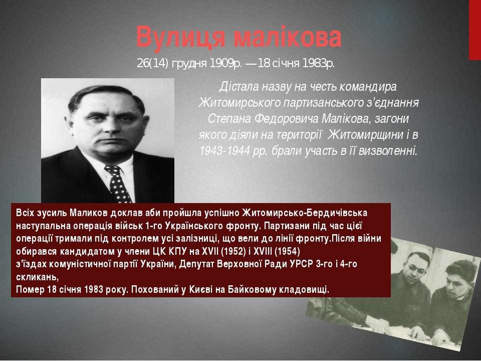 Вулиця малікова Дістала назву на честь командира Житомирського партизанського...