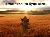 Немає поля, то буде воля.