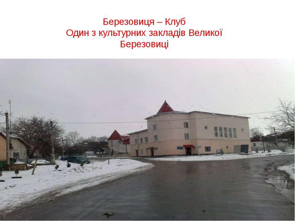 Березовиця – Клуб Один з культурних закладів Великої Березовиці