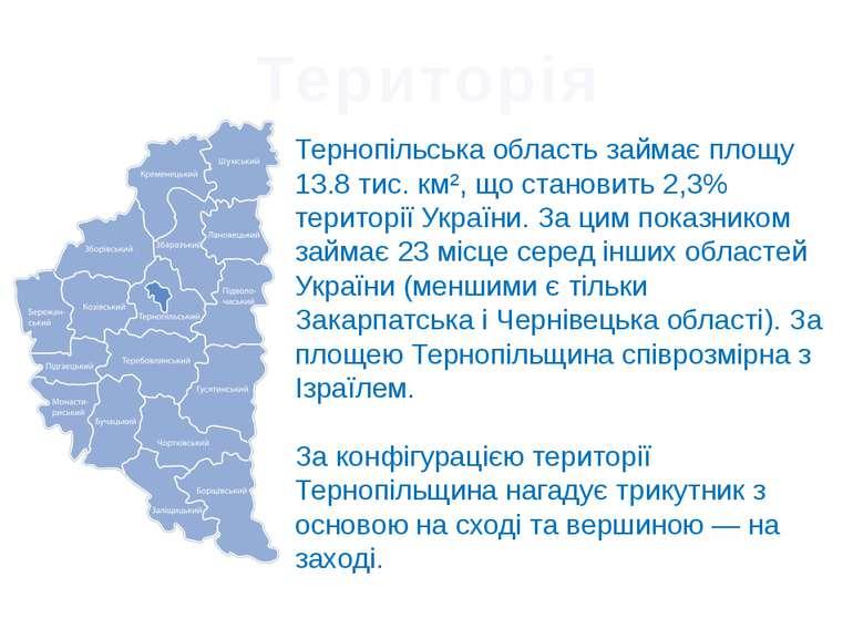 Територія Тернопільська область займає площу 13.8 тис. км², що становить 2,3%...