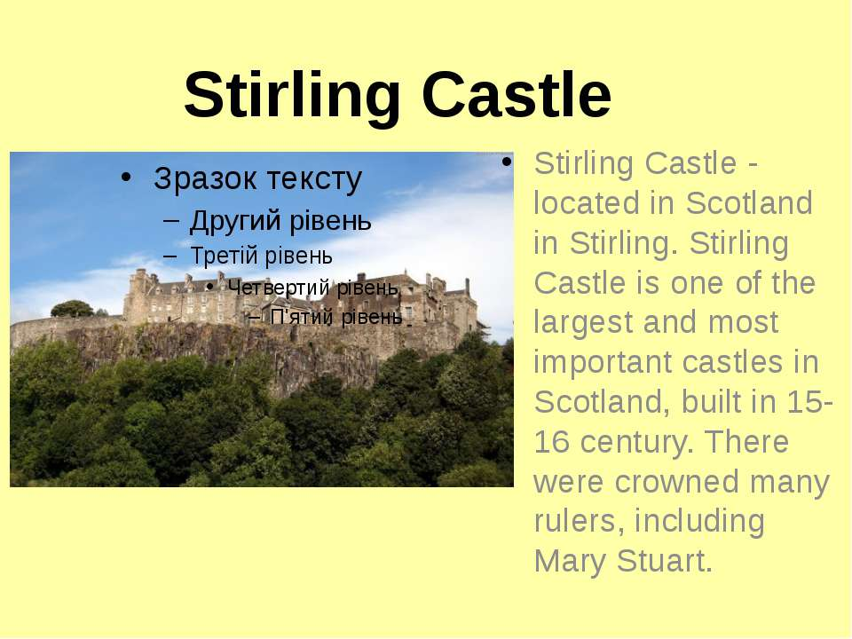 Stirling Castle Stirling Castle - located in Scotland in Stirling. Stirling C...