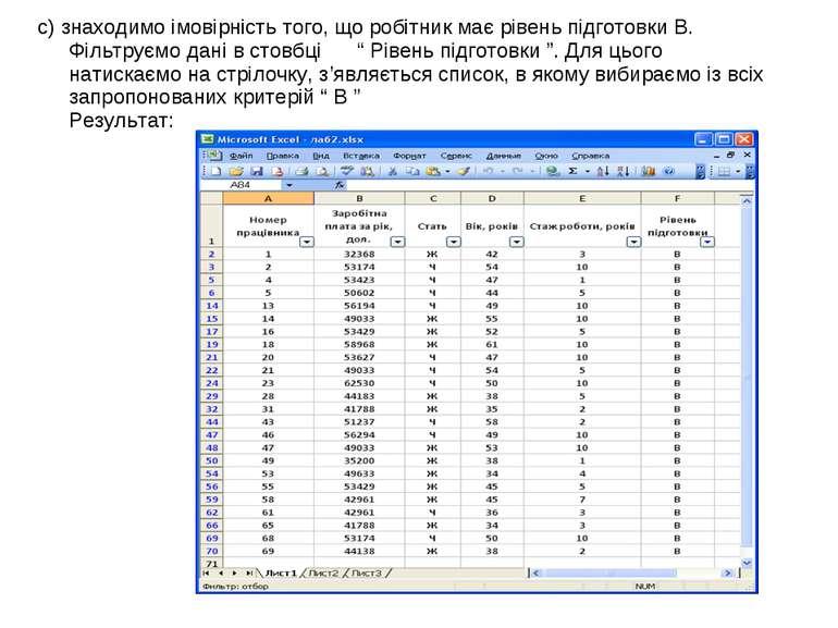 с) знаходимо імовірність того, що робітник має рівень підготовки В. Фільтруєм...
