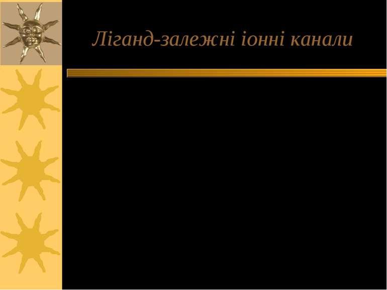 Ліганд-залежні іонні канали Позаклітинні ліганди: АХ, серотонін, глутамат, ГА...