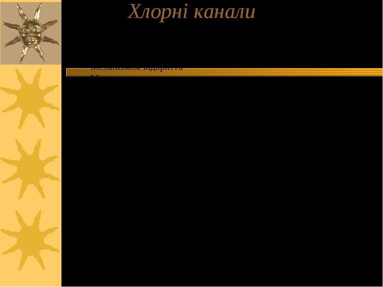 Хлорні канали Відрізняються за: Локалізацією (ПМ, везикули); Провідністю поод...